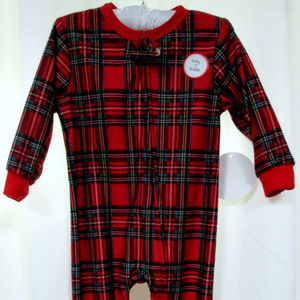 Other - Holiday Plaid Flannel One Piece Footie 12 Mo